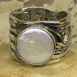 Silpada Mermaid Coin Pearl Ring Size 7 - NWOT